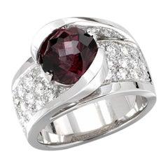 5 Carat Rhodolite and Diamond Ring, 14 Karat Gold, Ben Dannie