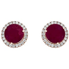 5 Carat Round Ruby and Diamond Stud Earrings 18 Karat Pink Gold, Post Back