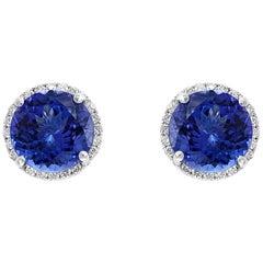 5 Carat Round Tanzanite and Diamond Stud Earrings 14 Karat White Gold, Post Back
