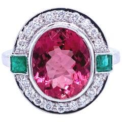 5 Carat Rubellite Red Tourmaline Emerald Diamond Gold Ring