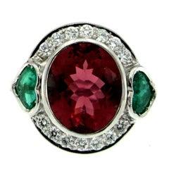 5 Carat Rubellite Red Tourmaline Heart Emerald Diamond Gold Ring