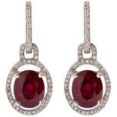 5 Carat Ruby and Pave Diamond Earrings