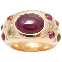 5 Carat Ruby, Diamonds Sapphires Pave 18 Karat Gold Bombe Ring