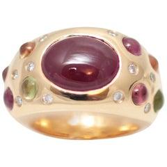 5 Carat Ruby, Diamonds Sapphires Pave 18 Karat Gold Bombe Ring