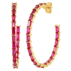 5 Carat Ruby Red Gemstone Baguette Hoop Ear Rings, Ben Dannie