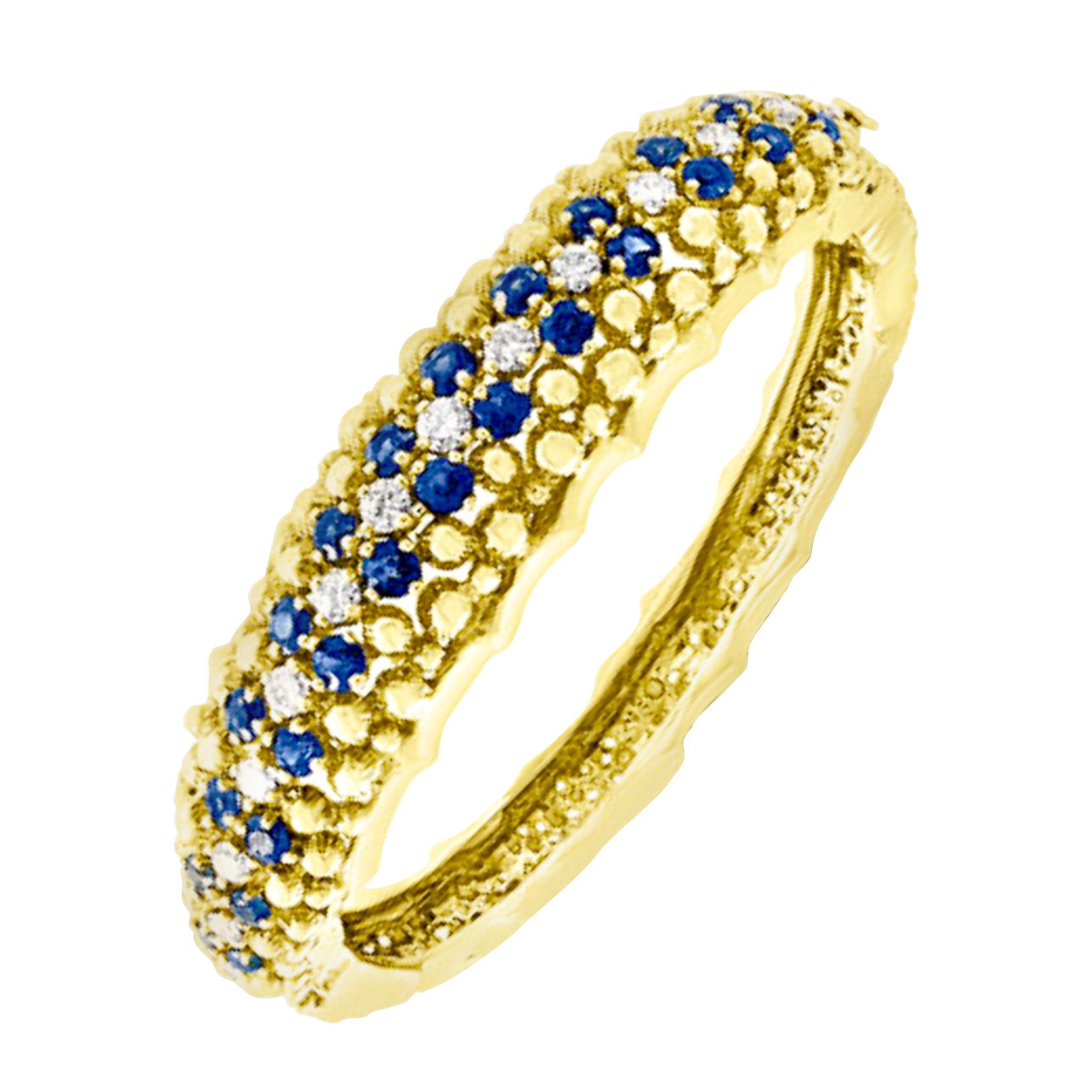 5 Carat Sapphire and 1.5 Carat Diamond Cuff Bangle Bracelet in 18 Karat Gold