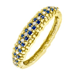 5 Carat Sapphire and 1.5 Carat Diamond Cuff Bangle Bracelet in 18 Karat Gold