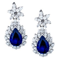 5 Carat Sapphire Pear Diamond Earrings
