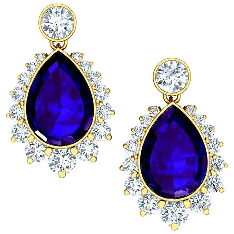 5 Carat Tanzanite and Diamond Drop Earrings Yellow Gold For Sale