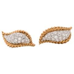 5 Carat Total Diamond, Platinum and 18 Karat Gold Leaf Motif Earrings