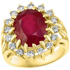 5 Carat Treated Ruby and Diamond 14 Karat Yellow Gold Cocktail Ring