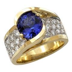 5 Carat Tw Tanzanite and Diamond Ring, 14 Karat Gold, Ben Dannie
