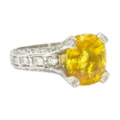 5 Carat Yellow Sapphire and Diamond 18 Karat White Gold Ring