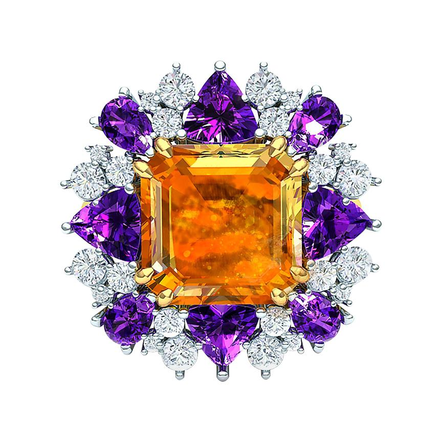 5 Carats Fire Opal Amethyst and Diamond Cocktail Ring