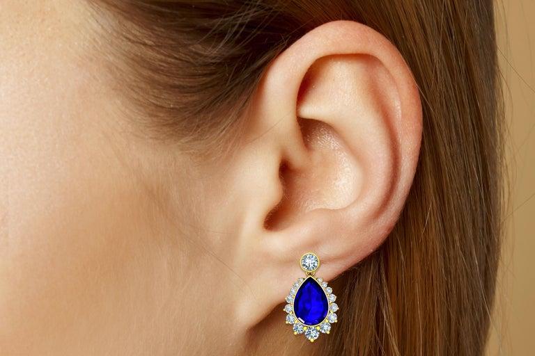 Modern 5 Carat Tanzanite and Diamond Drop Earrings Yellow Gold For Sale