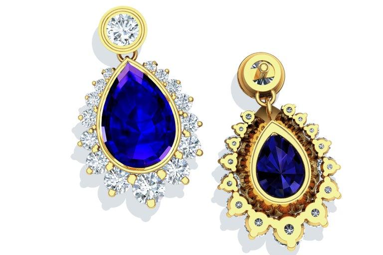 Pear Cut 5 Carat Tanzanite and Diamond Drop Earrings Yellow Gold For Sale