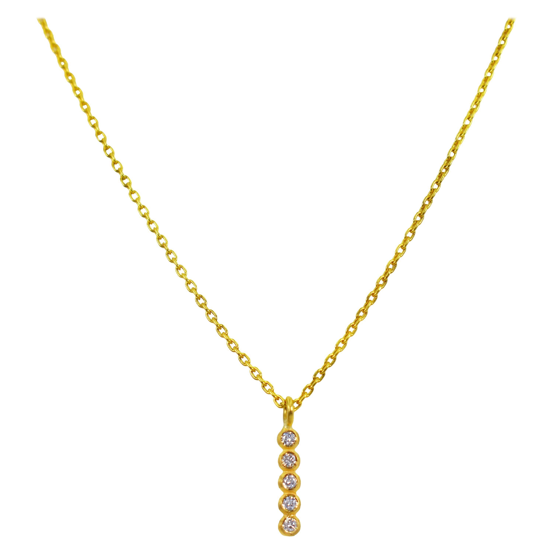 5 Diamond 22 Karat Gold Bar Pendant Necklace