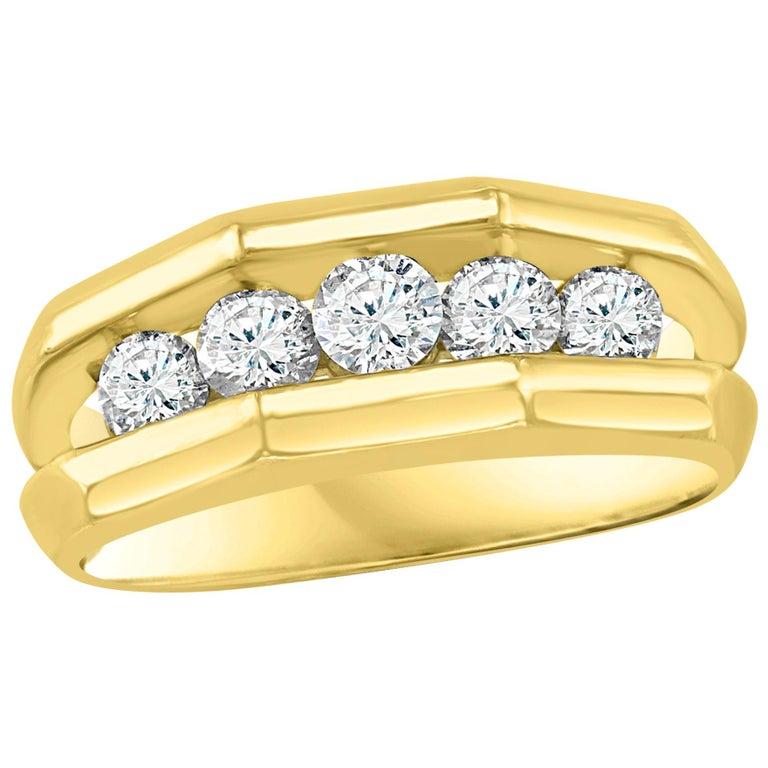 5 Diamonds, 1 Carat Unisex 1-Row Diamond Band Ring in 14 Karat Yellow Gold For Sale