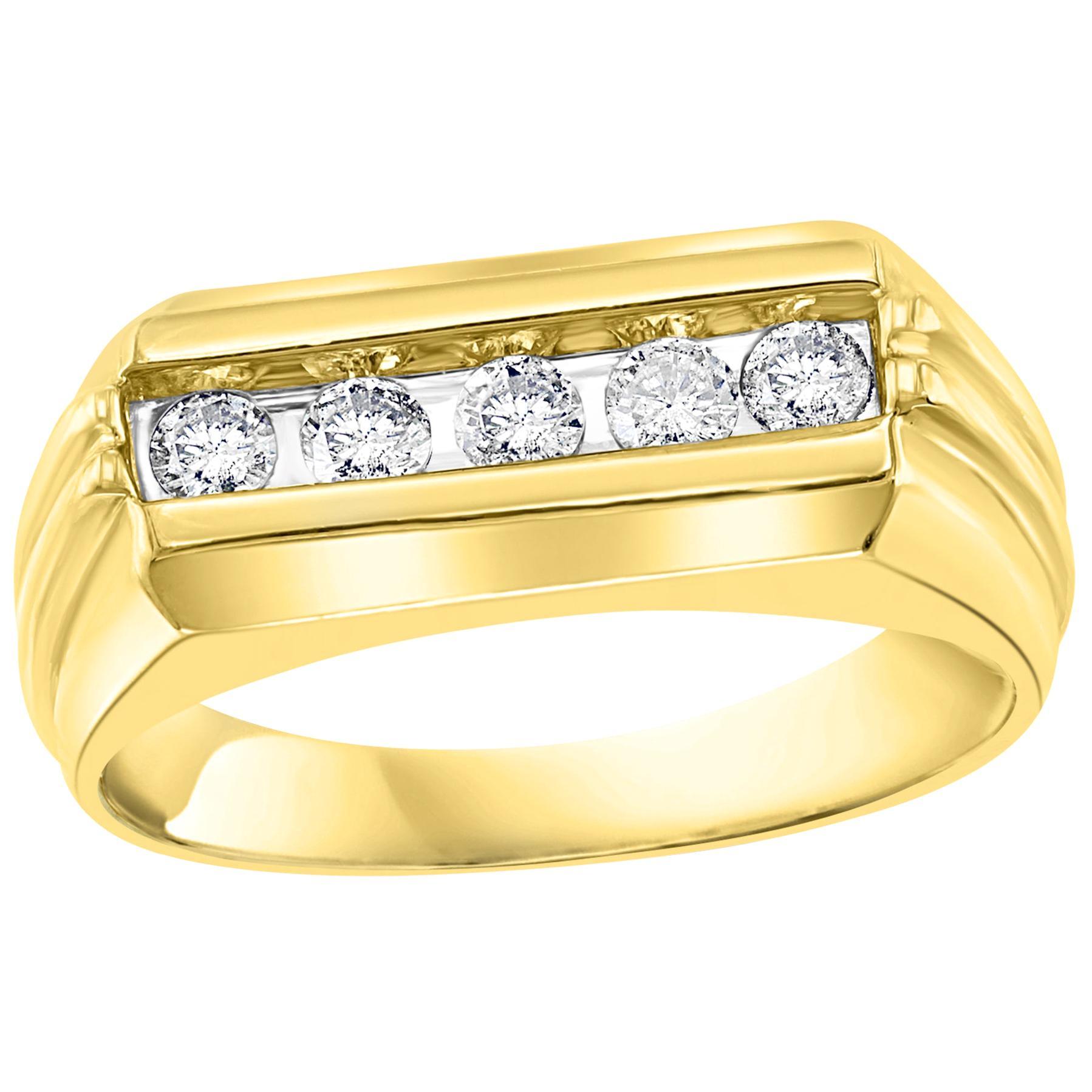 5 Diamonds, Unisex 1-Row Diamond Band Ring in 10 Karat Yellow Gold