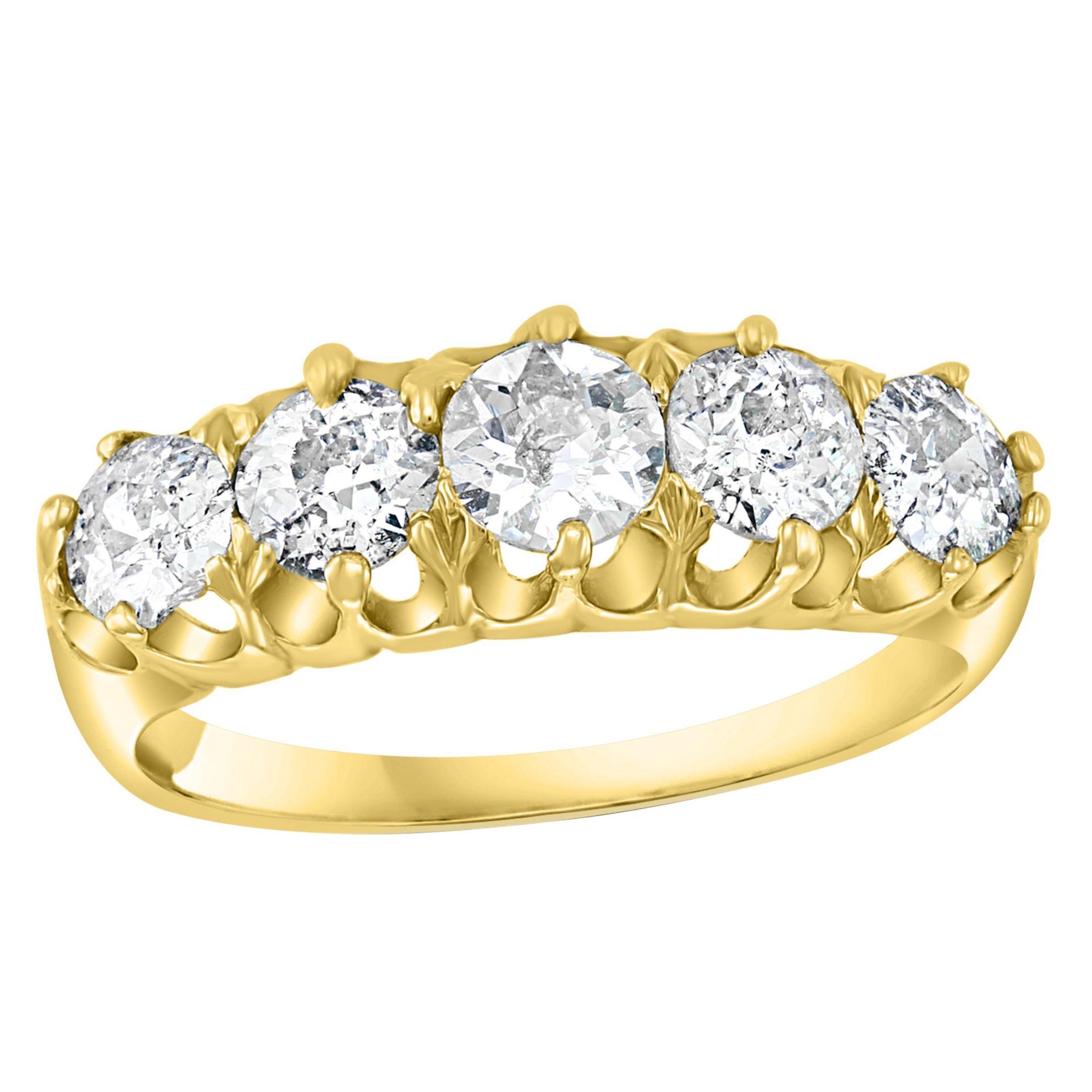 5 Diamonds, Unisex 1-Row Diamond Band Ring in 14 Karat Yellow Gold