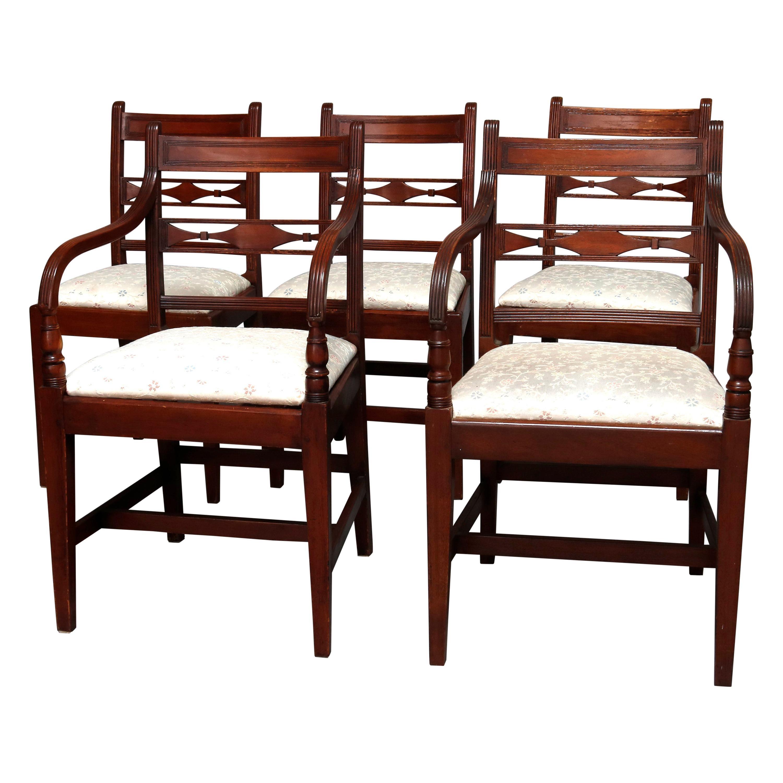 5 English Regency Mahogany Slat Back Dining Chairs, circa 1800