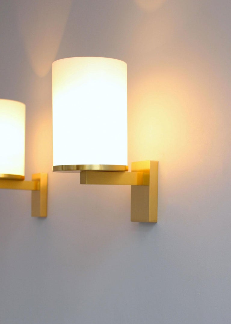 5 Fine French Art Deco Glass and Bronze Cylindrical Sconces by Jean Perzel For Sale 6