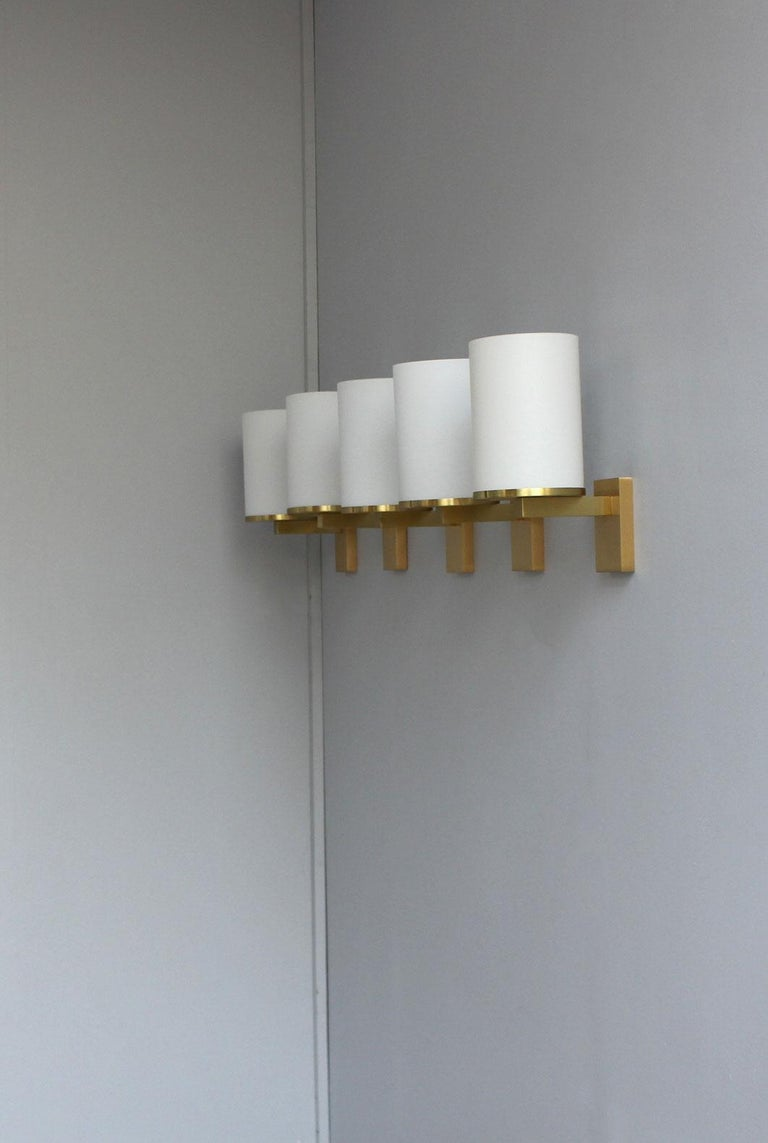 Mid-20th Century 5 Fine French Art Deco Glass and Bronze Cylindrical Sconces by Jean Perzel For Sale