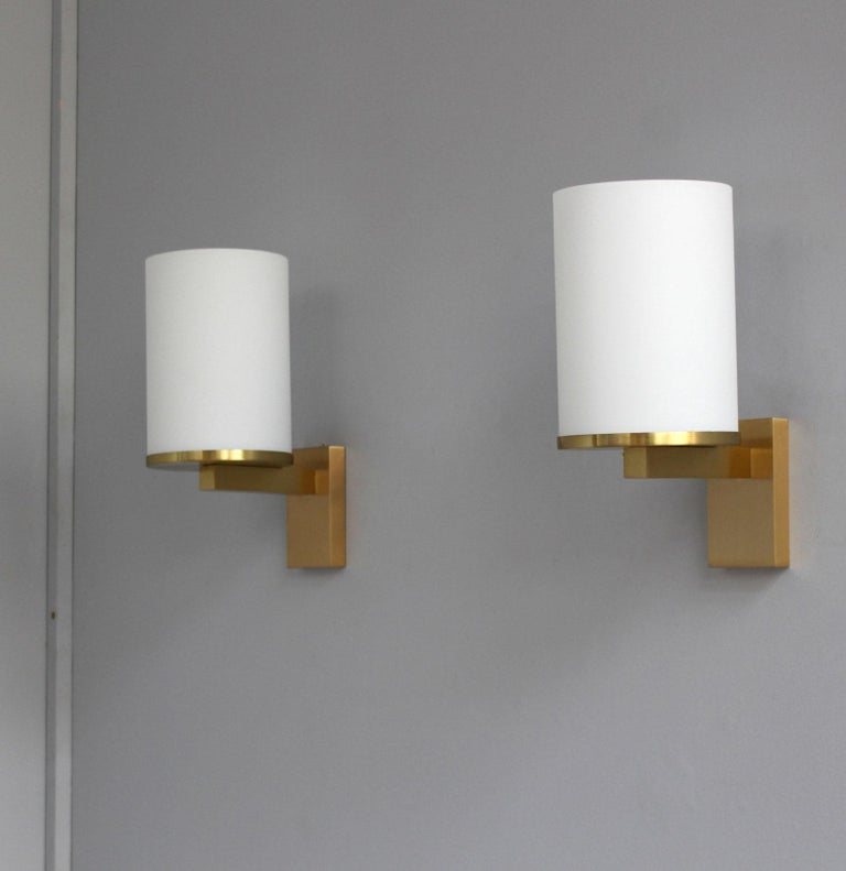 5 Fine French Art Deco Glass and Bronze Cylindrical Sconces by Jean Perzel For Sale 1