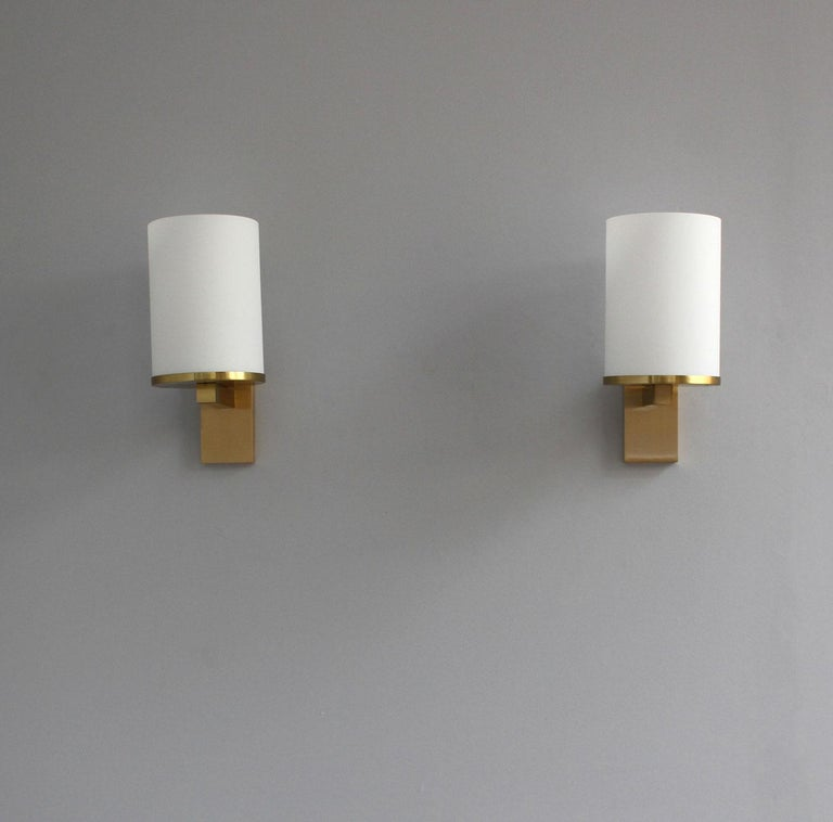 5 Fine French Art Deco Glass and Bronze Cylindrical Sconces by Jean Perzel For Sale 3