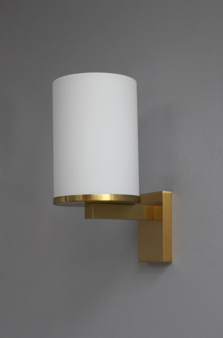 5 Fine French Art Deco Glass and Bronze Cylindrical Sconces by Jean Perzel For Sale 5