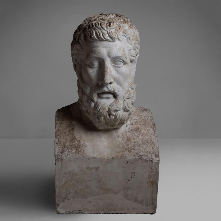 """Larger than life cast concrete and plaster sculpture with deteriorating surface and original paint remnants.   Measures: 30"""" W x 18.5"""" D x 60"""" H."""