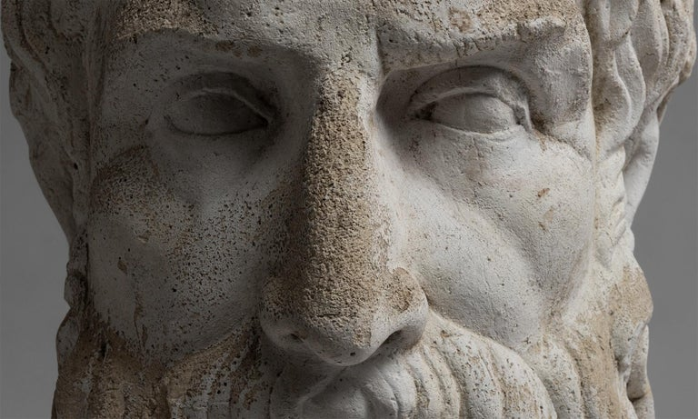 French Concrete Bust For Sale