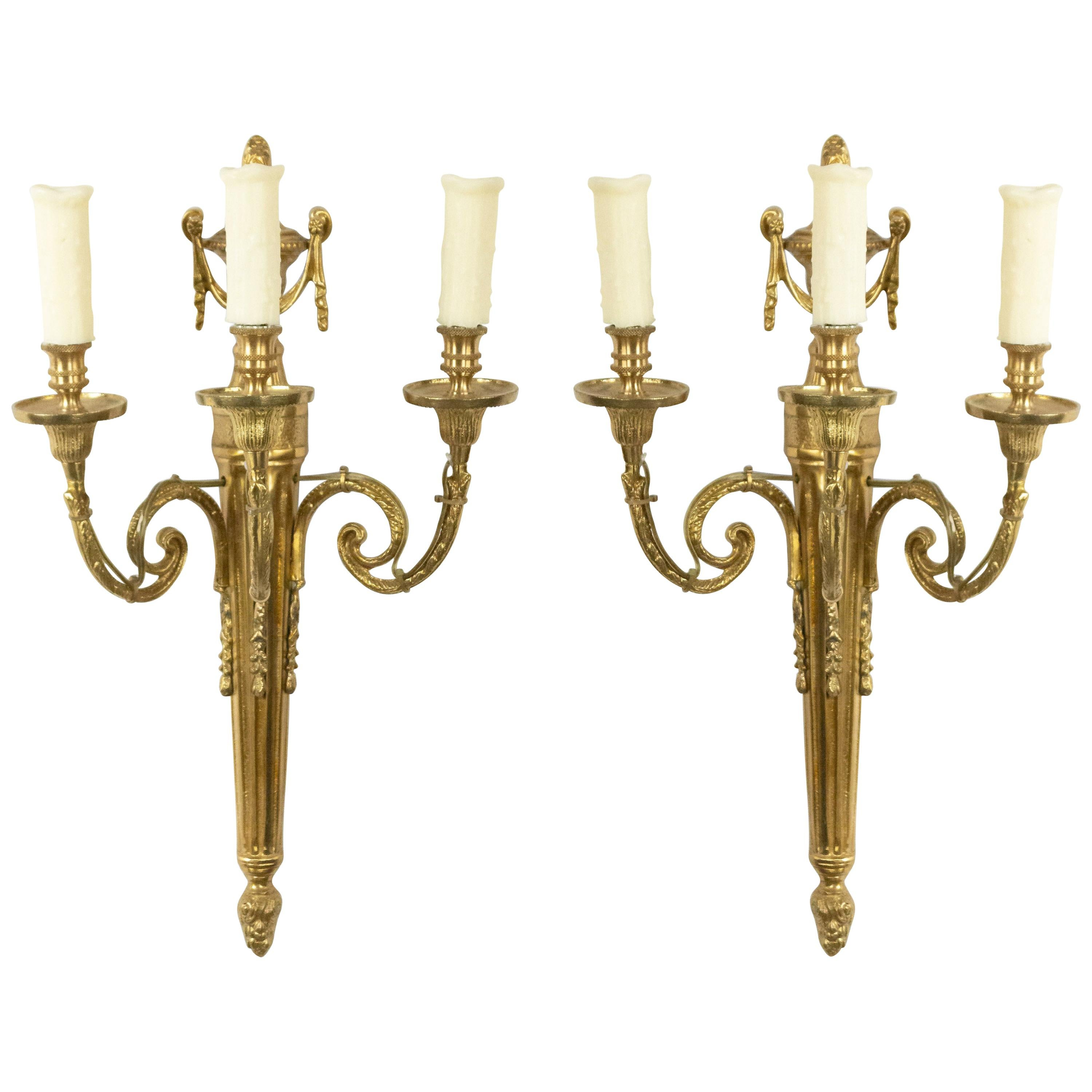 5 French Louis XVI Style Brass Wall Sconces