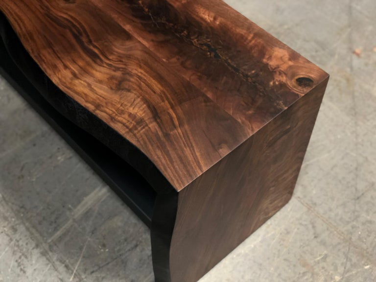 Our 5 ft live edge entryway/ porches waterfall wood bench is handmade to order from hand selected high figured Ambrosia maple slab. Our very unique wood oxidation process give a deep smoky color to the Ambrosia Maple. It has an hand rubbed natural