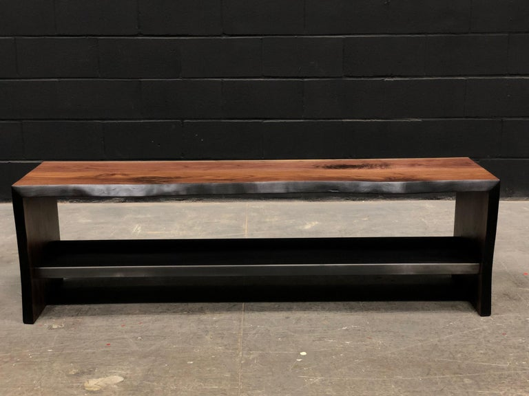Organic Modern 5ft Live Edge Wood Bench, by Ambrozia, Solid Walnut and Blackened Steel For Sale