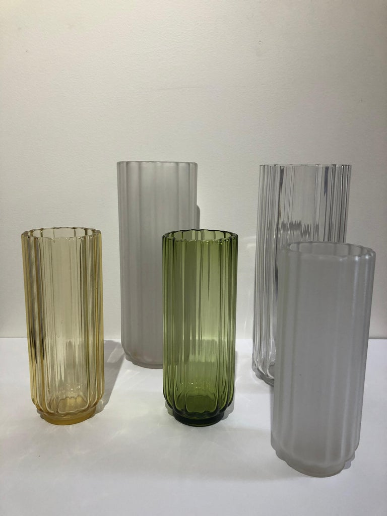 """Set of 5 George Sakier glass vases, 1930s Fostoria Glass co, hard to find tall vases in very good condition. Large vases are 12.75 x 5"""" and smaller ones are 3.50 x 9.50 .George Sakier (1897–1988) was an American artist and industrial designer.[1][2]"""