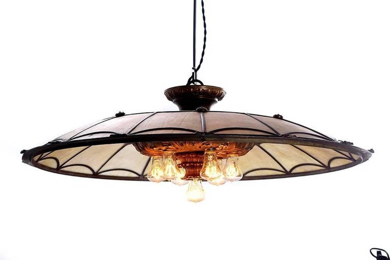 Large Bronze and Leaded Glass Seven Bulb Theatre Chandelier In Excellent Condition For Sale In Peekskill, NY