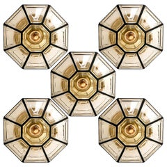 5 Iron and Clear Glass Flushmount/Wall Lights by Limburg, 1960s