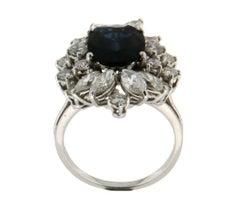 5 Karat Sapphire 18 Karat White Gold Diamonds Cocktail Ring