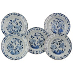 #5 Large Antique Chinese Porcelain Kangxi Period Blue White Dinner Plates