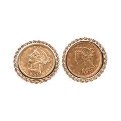 $5 Liberty '1880, 1895' Coin Cufflinks with 10 Karat Yellow Gold Frames