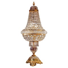5 Lights Table Lamp in 24kt Gold Finish Embellished with Scholler Crystals