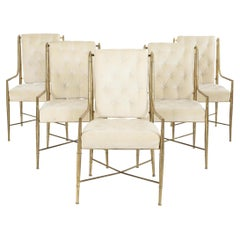 5 Mastercraft for Weiman/Warren Lloyd Dining Chairs in Tubular Brass w Arms, Set
