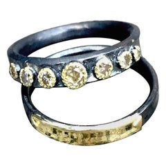 Band Ring, Champaign Diamonds 14 Karat Gold Oxidized Sterling Silver
