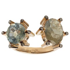 Double Ring, 14 Karat Gold Sapphire and Diamonds