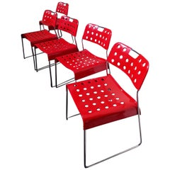 5 Omkstak Red Chairs by Redney Kinsman for Bieffeplast, 1960s