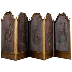 """5-Panel Hand Painted Iron Fireplace Screen Featuring """"The Americas"""", circa 1920"""
