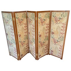 5 Panel Upholstered Screen Room Divider by Josef Frank