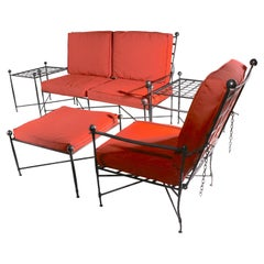 5 Pc. Mario Papperzini for Salterini Suite Loveseat, Chair, Ottoman, Tables