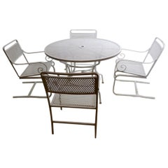 5 Pc. Neoclassic Hollywood Regency Patio Dining Set of Cast Aluminum and Steel